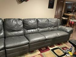 Natuzzi Grey Leather 3 Sectional Couch And Foot Rest