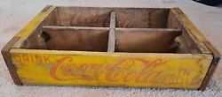 Vintage 1969 Drink Coca Cola Coke Yellow Wood Shipping Crate