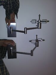 Pair Walter Von Nessen Swing- Arm Double Sockets Wall Lamps Sconces