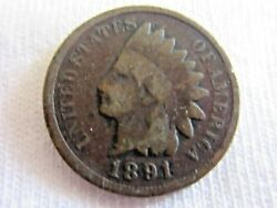 1891 Indian Head One Cent .   Rare Coin           6.8/6
