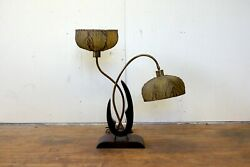 1950s Vintage Majestic Table Lamp With Two Fiberglass Shades