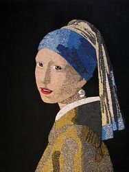 Girl With Pearl Earring 16 X 20 Acrylic On Wood By Michael Byro