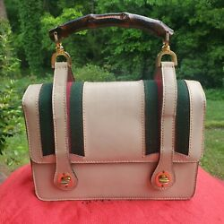Vintage Beige Leather W/ Green And Red Web Stripe Lunch Box Handbag