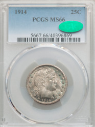 1914 Barber Quarter Pcgs Ms66 Cac Iridescent Steel Gray Tone W/trace Of Blue