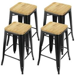 26 Inch Durable Backless Metal Frame And Wood Stackable Bar Stools Set New