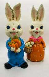 Vintage Mr. And Mrs. Bunny Rabbit Chalkware Easter
