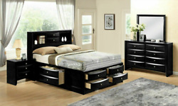 New Black Storage Queen Or King 4pc Bedroom Set Traditional Furniture Bed/d/m/n