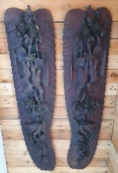 Vintage Antique Pair Of Large Hand Carved Birds And Roses Dark Wood Wall Displays