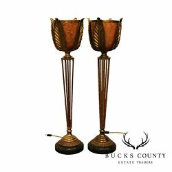 Maitland Smith Art Deco Style Pair Tall Torchier Table Lamps