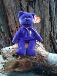 """Ty 1997 Princess Diana"""" Beanie Baby Purple Bear..rare Excellent Condition"""