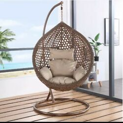 Outdoor Single Seat Rattan Hanging Egg Swing Chair