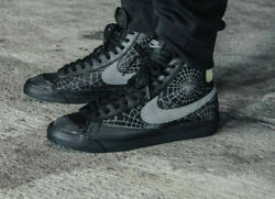 Nike Blazer Mid And03977 Halloween Spider Web Black Gray Dc1929-001 Menand039s Shoes New