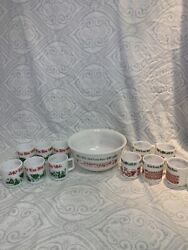 Vintage Tom And Jerry Auld Lang Syne Milk Glass Punch Bowl Set With 11 Glasses