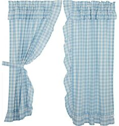 Blue Gingham Ruffled Curtains Cotton Lined Country Farmhouse Annie Buffalo Check