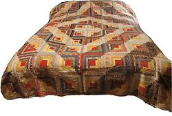Rare Antique Mid 1800's Hand Stitched Quilt Log Cabin Pattern By Mary Ludwig