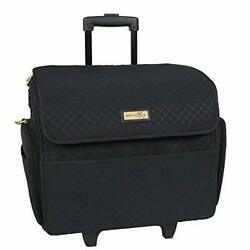 Black Stamped Rolling Sewing Machine Tote For Standard Singer Sewing Machines
