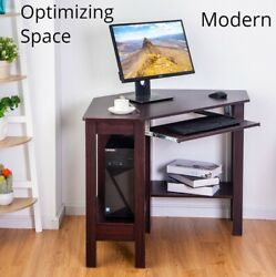 Corner Computer Desk Wooden Laptop Pc Table With Drawer Shelves Compact Small