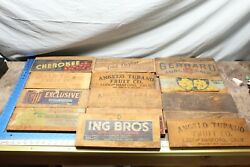 Vintage Lot Of 14 Wooden Fruit Crate Ends 1940's 6b2