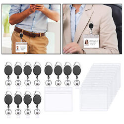 12 Pcs Retractable Badge Reels Id Card Holder For School Worker Doctor