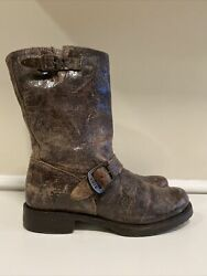 Frye Veronica Short Brown Distressed Leather Engineer Motorcycle Boots Size 8 B $59.99