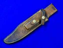 Vintage Us Custom Made Randall Brown Button Knife Leather Sheath Scabbard Case