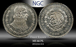 1959-mo Mexico 1 Peso Ngc Ms 66 Pl Silver Finest Known