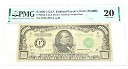 1934a 1000 Atlanta Fdr Note Pmg 20 Very Fine Fr-2212-f Only Printed 80964