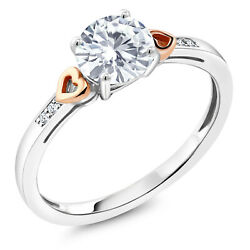 925 Silver and 10K Rose Gold Ring Forever Classic Created Moissanite amp; Diamond $149.99
