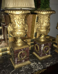 Antique Pair Neoclassical Marble / Gold With Bacchus Rams Head Heavy Urns