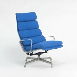Herman Miller Eames Aluminum Group Executive Soft Pad Lounge Chair Blue Fabric