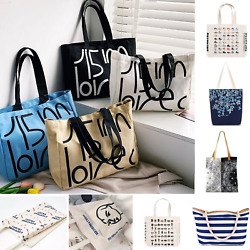 US Large Cotton Shoulder Tote Bag Canvas shopping bag Casual Crossbody Bags $12.49