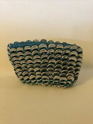 Pop Top Make Up Bag Purse Made From Soda Can Tabs Teal