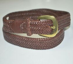 Nwt Polo Core Derby Braided Leather Brown Dress Belt Sz 40