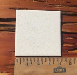 Lot Of 5 Vintage Ceramic Wall Tiles 4 1/4 White Gold Speckle Reclaimed Glossy