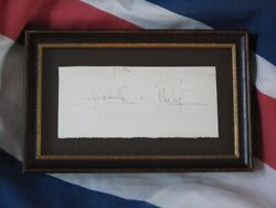 Totally Original Hand Signed Autograph Of Queen Elizabeth Ii And Philip.