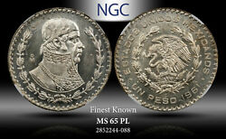 1961-mo Mexico 1 Peso Ngc Ms 65 Pl Silver Finest Known
