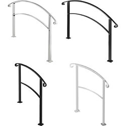 VEVOR Fits 3 4 5Steps Wrought Iron Handrail Arch Outdoor Steps Matte White Black