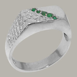 18k White Gold Natural Emerald Mens Band Ring - Sizes 6 To 12