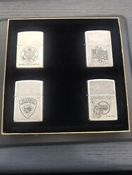 4 X Zippo Lighters Antique Silver Plate With Usa Theme Design Made In 1994-1996