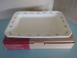 Longaberger Usa Pottery Small Serving Tray Platter Traditional Red New