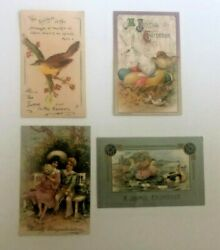 Lot Of 4 Antique Post Cards Easter Eastertide Congratulations Bird 1910's