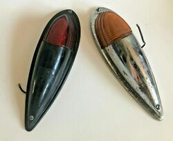 Pair Of Vintage Arrow Marine Boat Lights Red And Amber 39 Mt Holly Chrome And Black