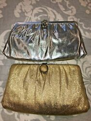 Vintage Lot of 2 Evening Bags Purses Clutches Gold amp; Silver Lame with Chain EUC $19.95
