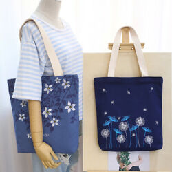 US Women Large Canvas Tote Bags Embroidered Casual Shoulder bag Fashion Handbag $13.99