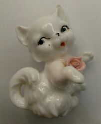 Vintage White Kitty Cat Figurine 3quot;
