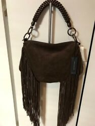 NEW Genuine Suede BAG Handbag With FRINGE Made in ITALY by BERGE NWT $125.00