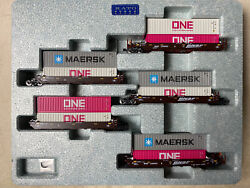 Kato 106-6195 N Gunderson Maxi-i Double Stack Car Bnsf Swoosh Mix Of Containers