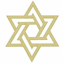 Unfinished Modern Star Of David Wood Cutout In Multiple Of Sizes And Thicknesses