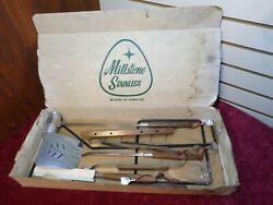 New Vintage Millstone Stainless Steel Hardwood Handle 3 Piece Barbeque Set Usa