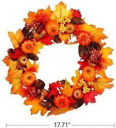 Fall Wreath 18 Inches Pumpkin amp; Maple Leaf Autumn Harvest Wreath for Front Door